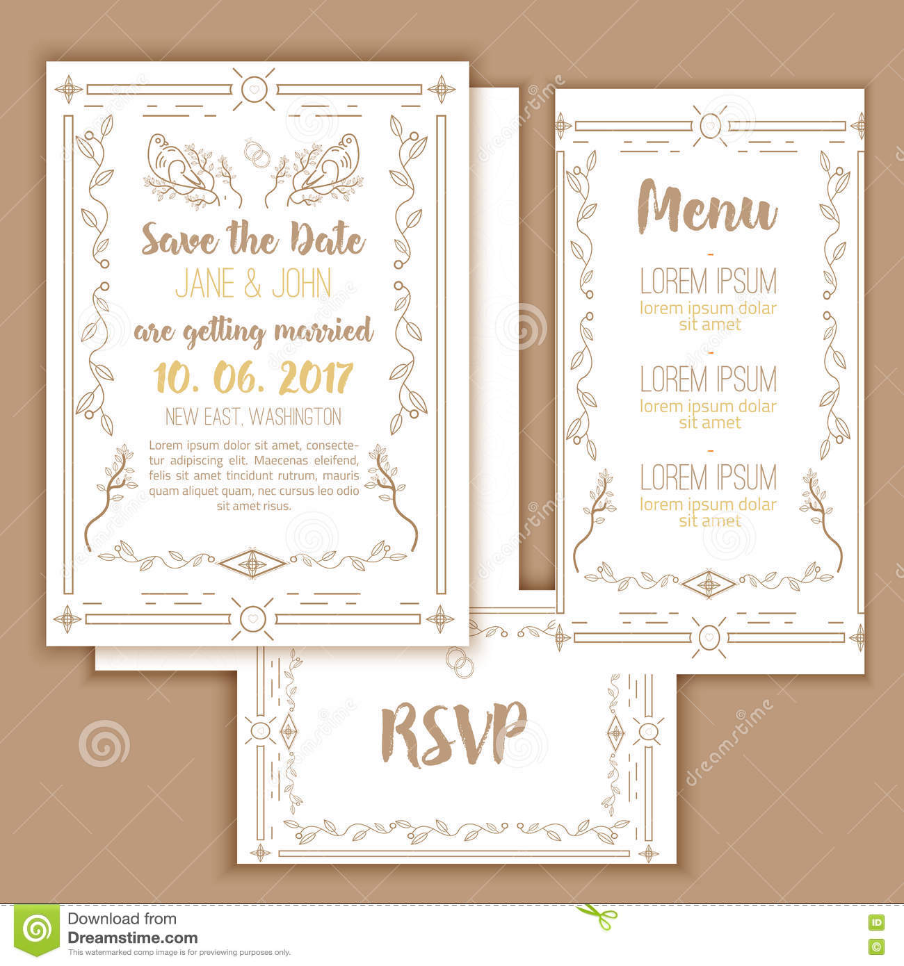 image about Printable Save the Date Cards titled Printable Conserve The Day With Geometric Gold Body In just Linear