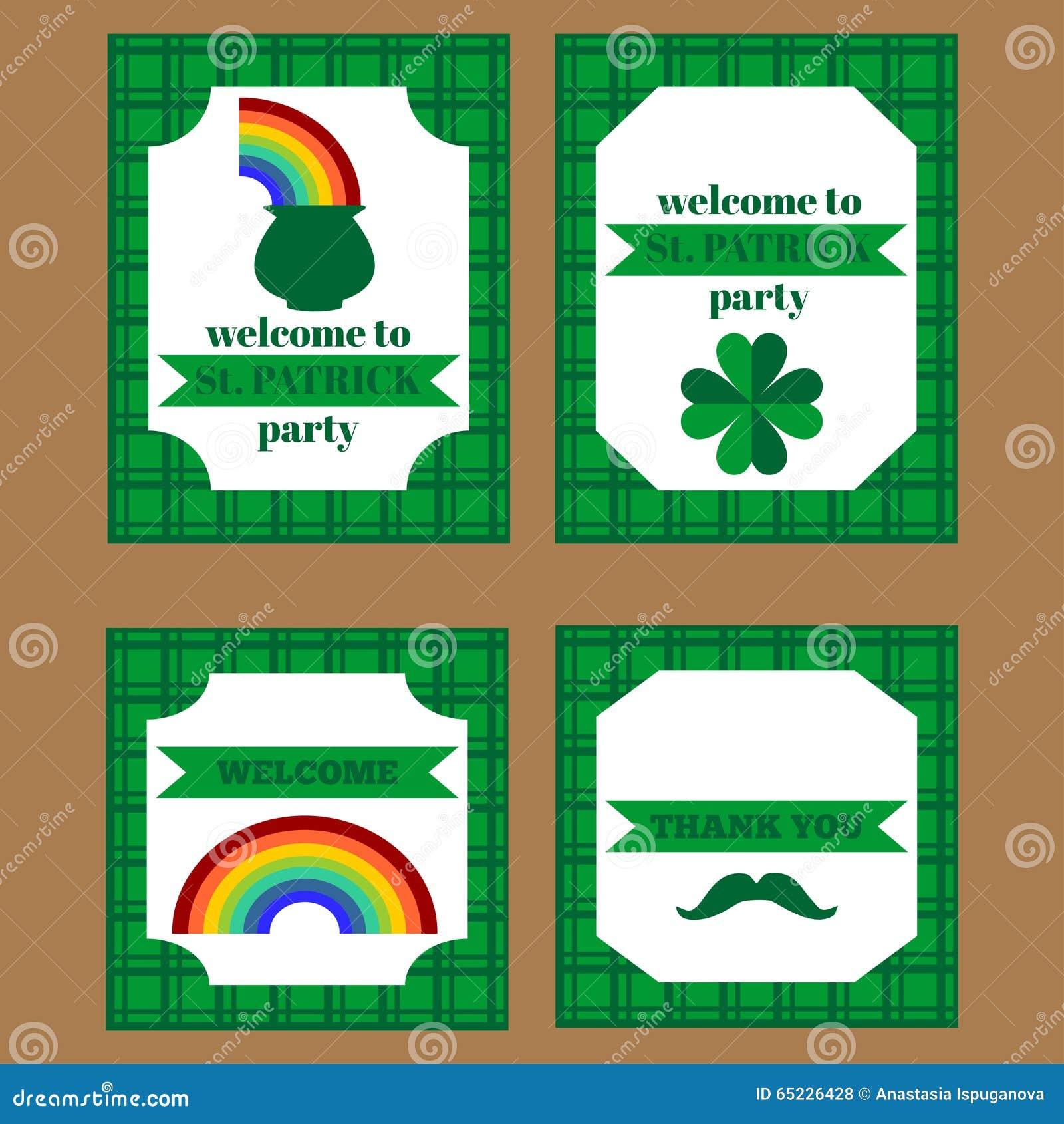 Printable set świętego Patrick przyjęcia elementy