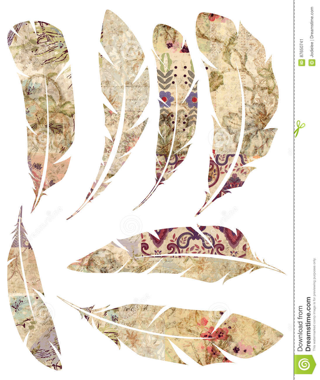photo regarding Printable Feathers called Printable Fixed Of Grungy Watercolor Traditional Feathers Upon White
