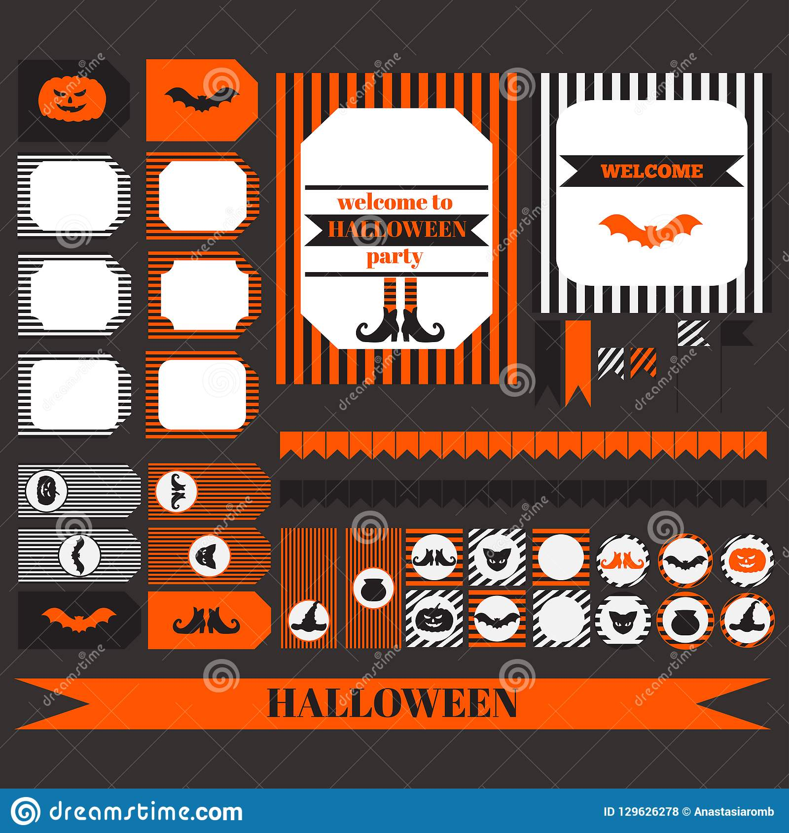 graphic relating to Printable Elements known as Printable Fastened Of Halloween Get together Supplies. Templates, Labels