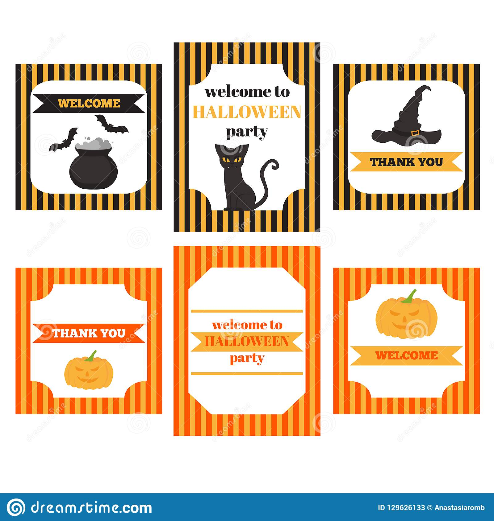 printable set of halloween party elements templates labels icons