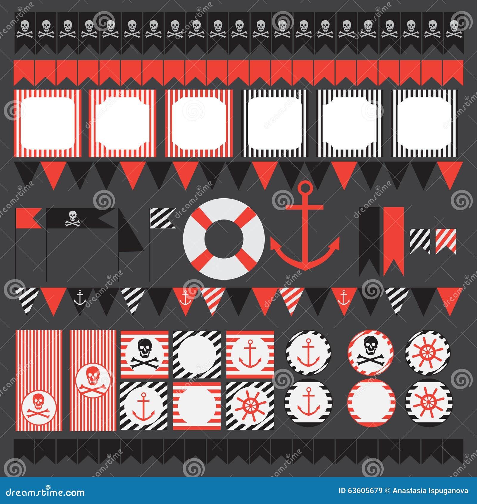Printable set rocznika pirata przyjęcia elementy