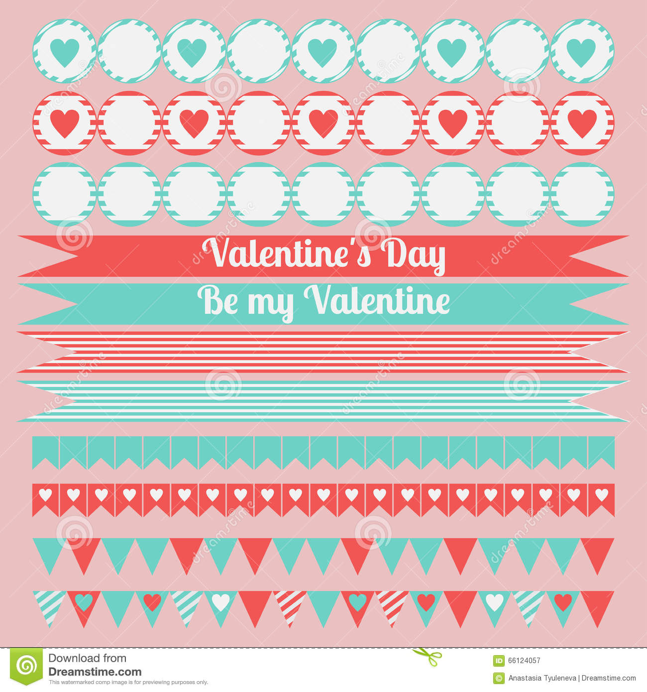 graphic about Happy Valentines Day Banner Printable called Printable Preset Of Saint Valentine Get together Components. Delighted