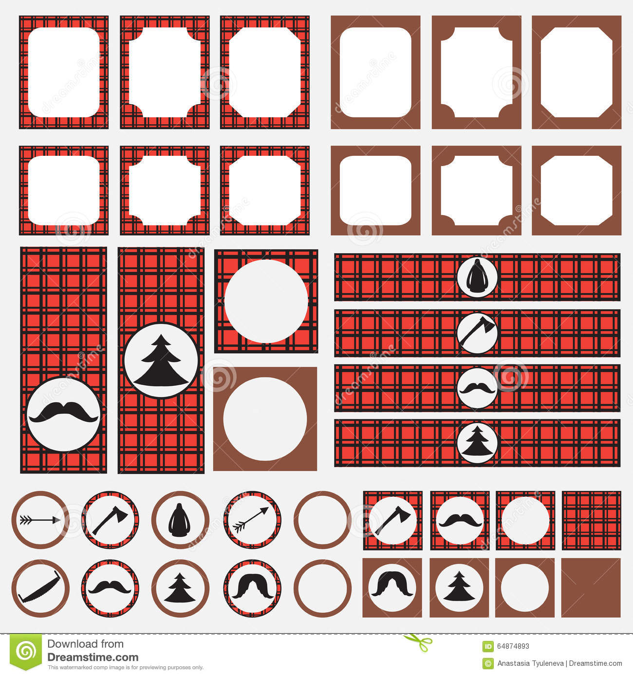Printable Set Of Vintage Lumberjack Party Elements. Templates, Labels, Icons And Wraps. Stock ...