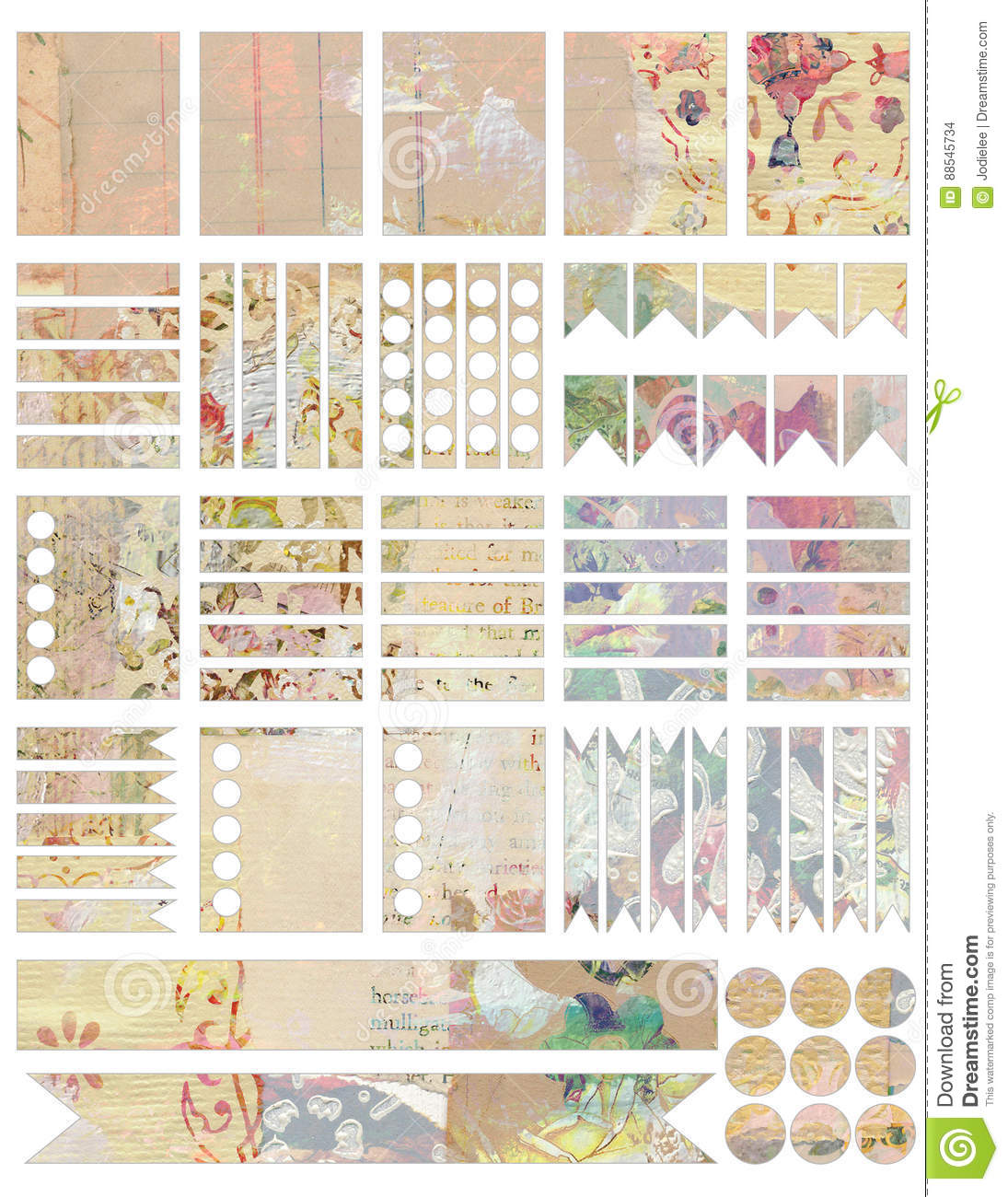 printable shabby chic vintage style collage planner stickers stock