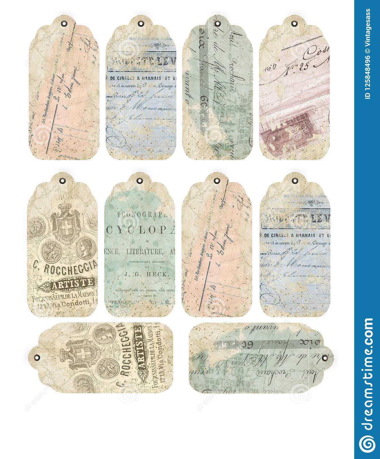 photo about Printable Textures known as Printable Tag Sheet - Common Ephemera - Distressed Textures
