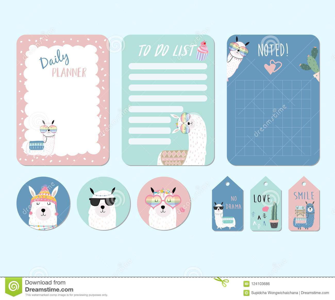 picture regarding Llama Printable named Printable And Sticker With Llama,alpaca,cactus,gles,cake