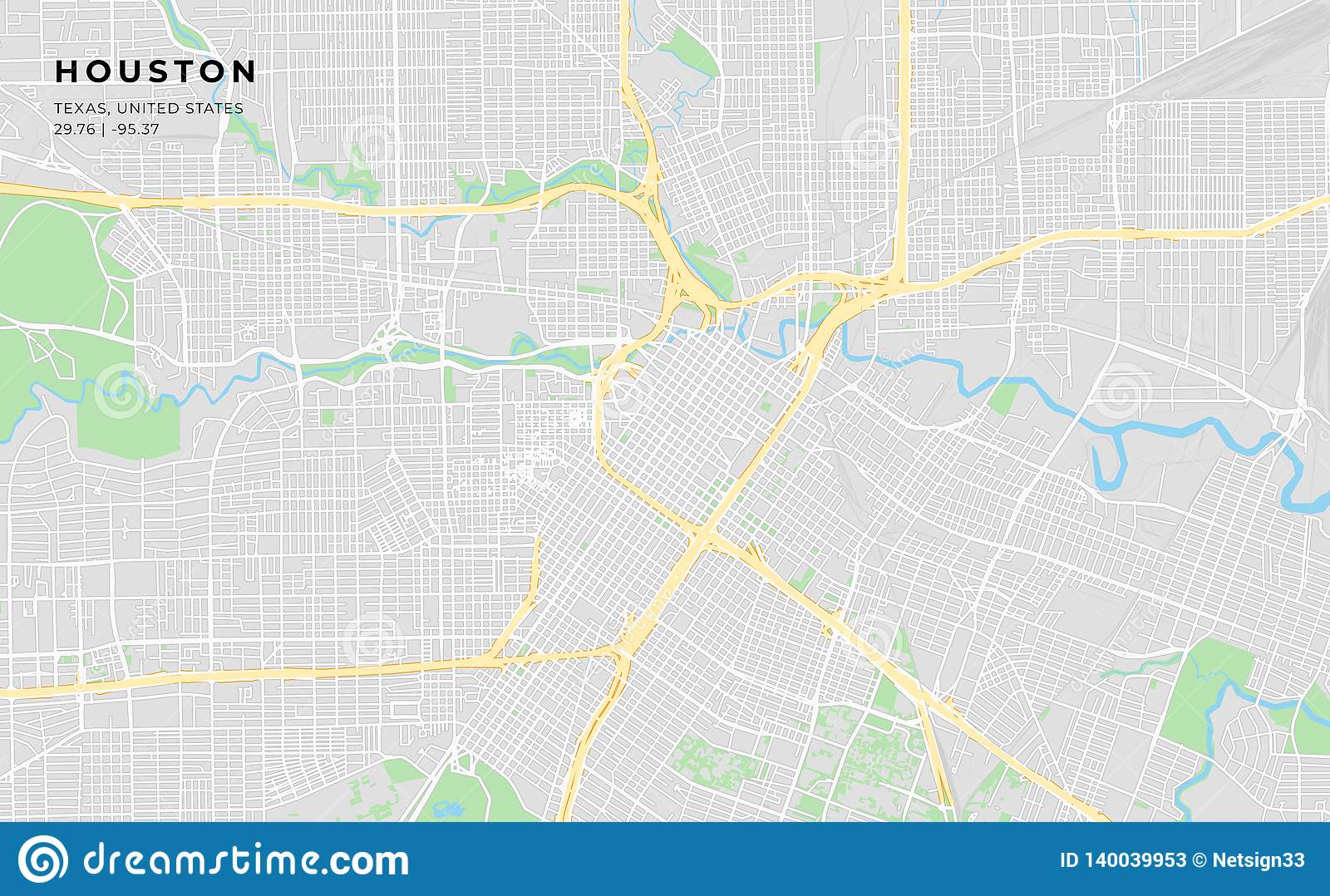 photograph about Houston Map Printable titled Printable Road Map Of Houston, Texas Inventory Vector