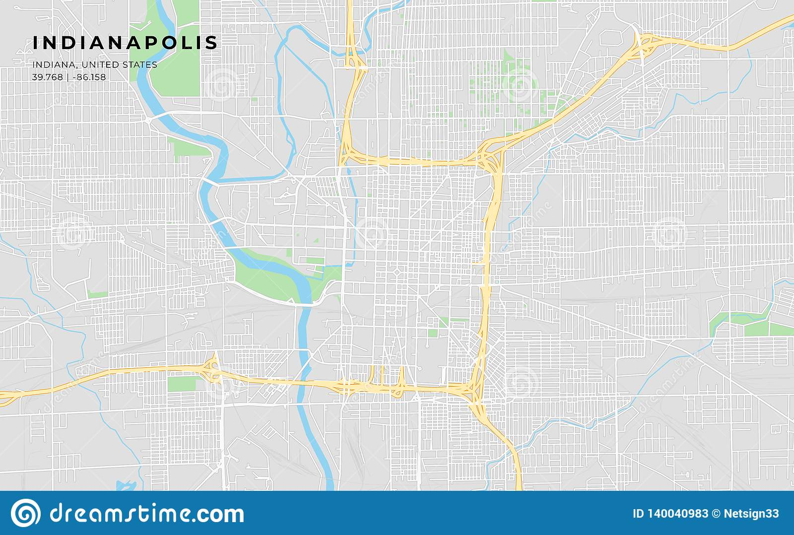 image regarding Printable Map of Indiana referred to as Printable Highway Map Of Indianapolis, Indiana Inventory Vector