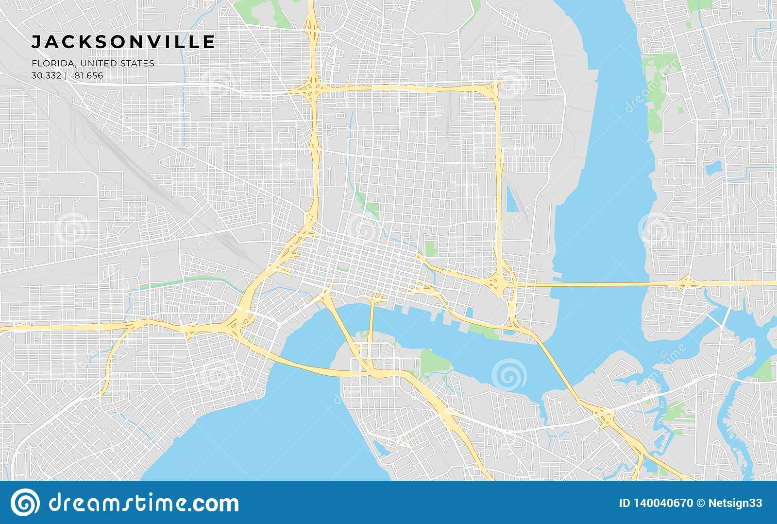 graphic relating to Printable Map of Jacksonville Fl referred to as Printable Highway Map Of Jacksonville, Florida Inventory Vector