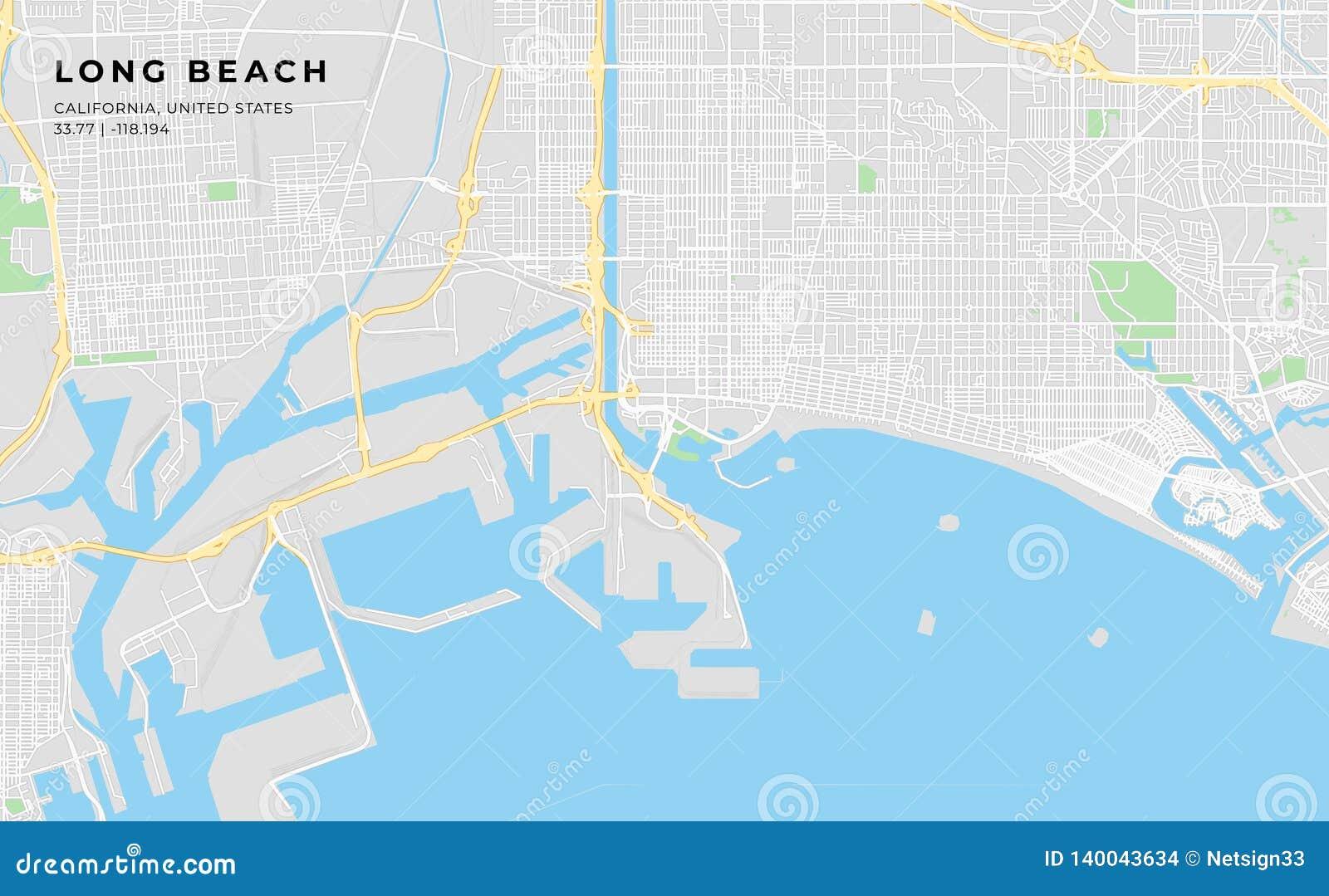 Printable Street Map Of Long Beach, California Stock Vector ...