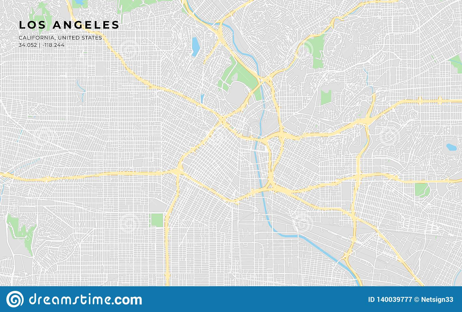 Mapa De Los Angeles Con Nombres.Printable Street Map Of Los Angeles California Stock Vector