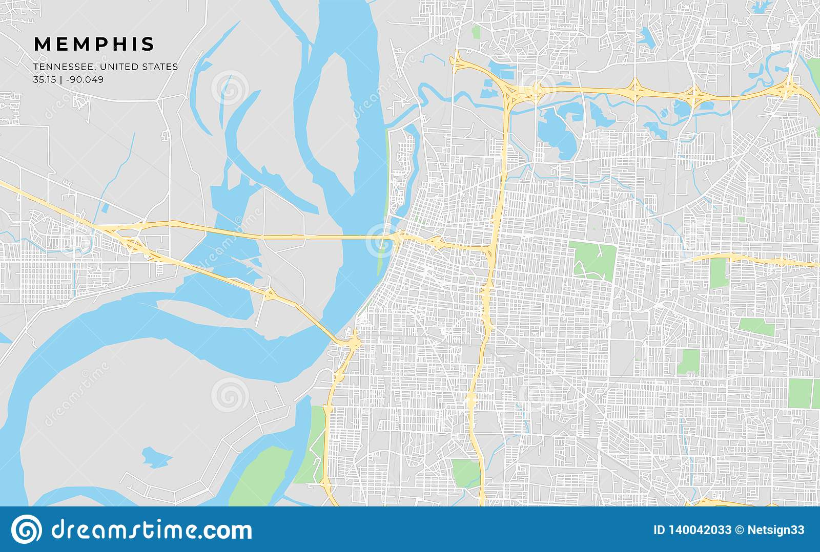 Printable Street Map Of Memphis, Tennessee Stock Vector ...