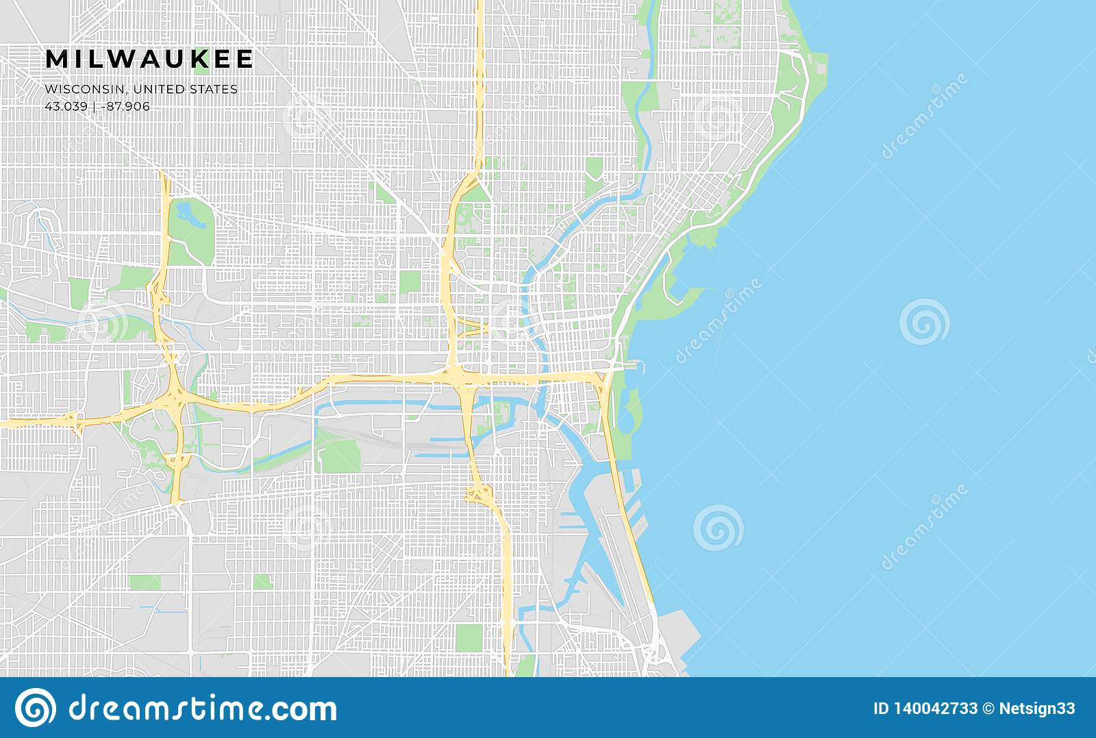 picture regarding Printable Layout identified as Printable Highway Map Of Milwaukee, Wisconsin Inventory Vector