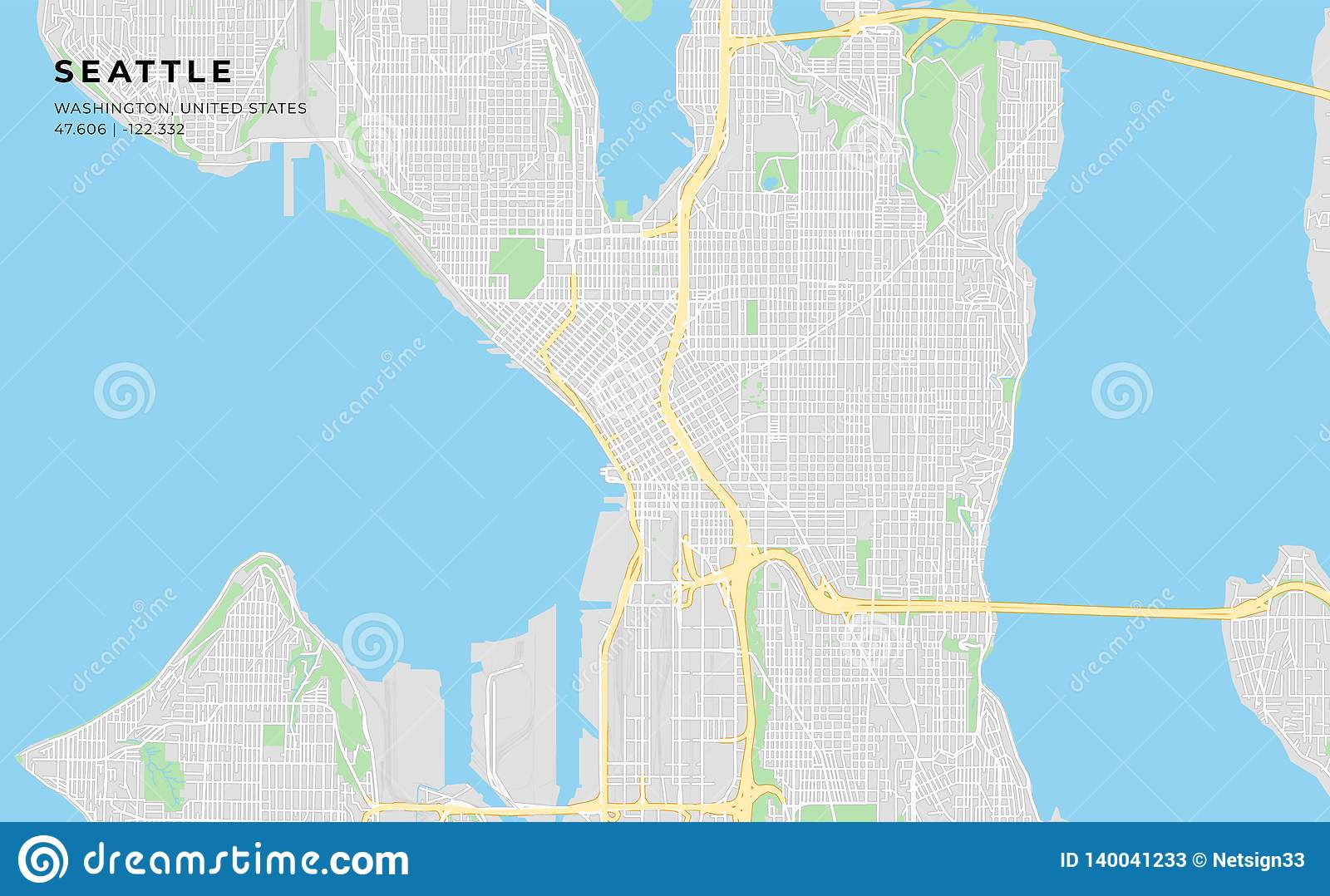 picture regarding Printable Map of Seattle known as Printable Road Map Of Seattle, Washington Inventory Vector