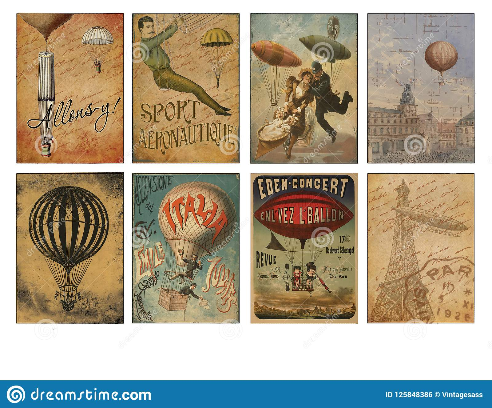 graphic regarding Free Printable Ephemera named Printable Tag Sheet - Basic Airship Ephemera - Distressed