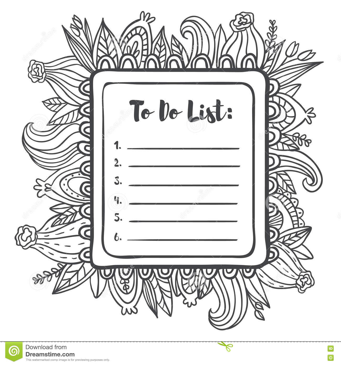 printable to do list page. stock illustration. illustration of