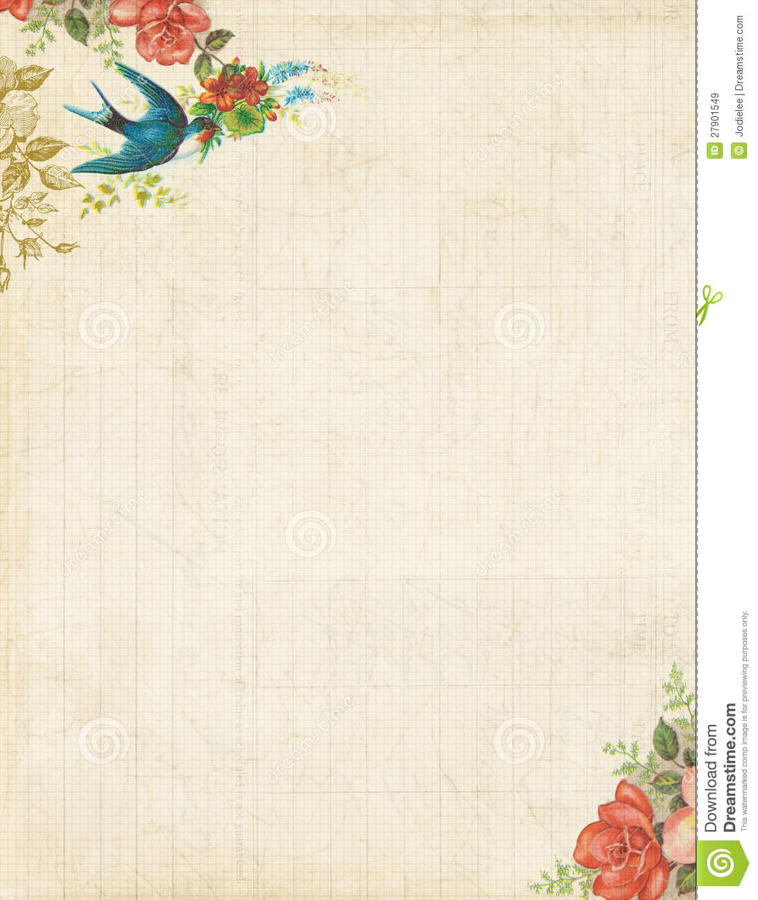 image about Stationary Printable called Printable Basic Fowl And Roses Stationary Or History