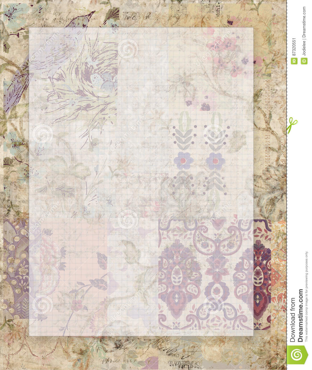 printable vintage grungy shabby chic style floral stationary on