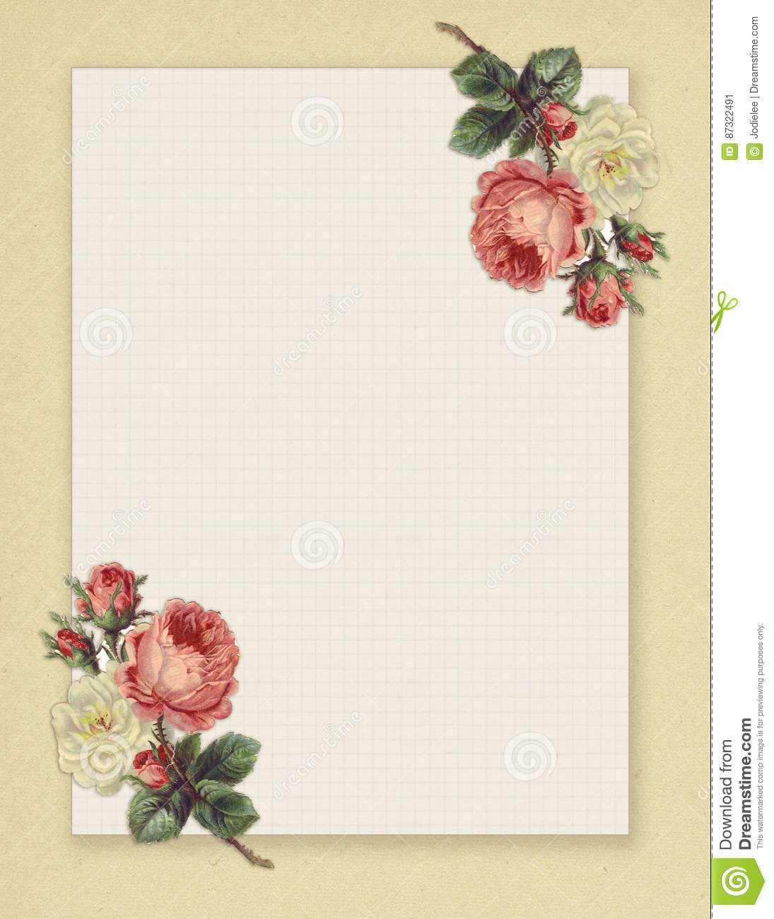 photo relating to Free Printable Backgrounds for Paper named Printable Typical Shabby Stylish Design and style Floral Rose Stationary