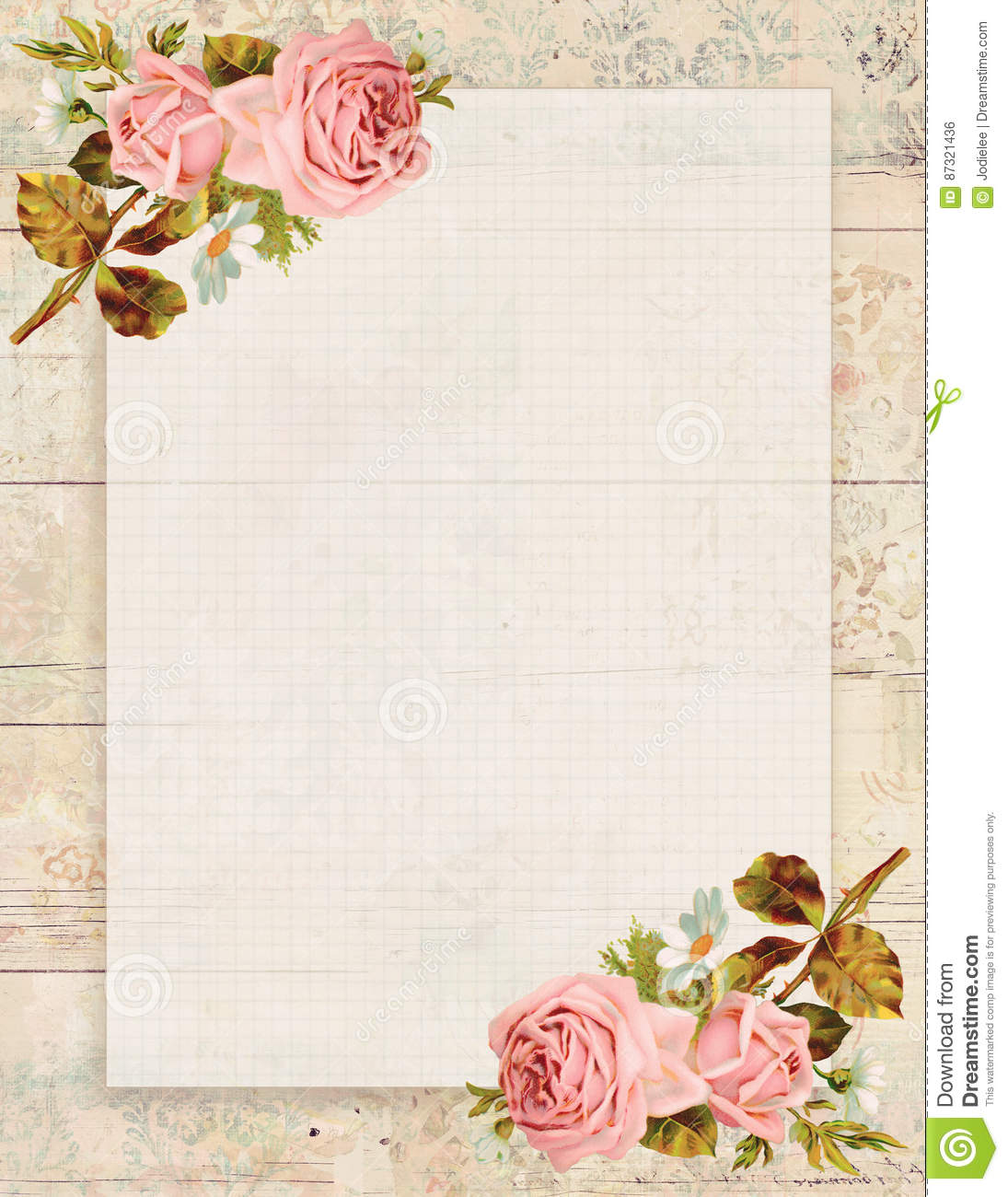 Printable vintage shabby chic style floral rose stationary - Papel de pared retro ...