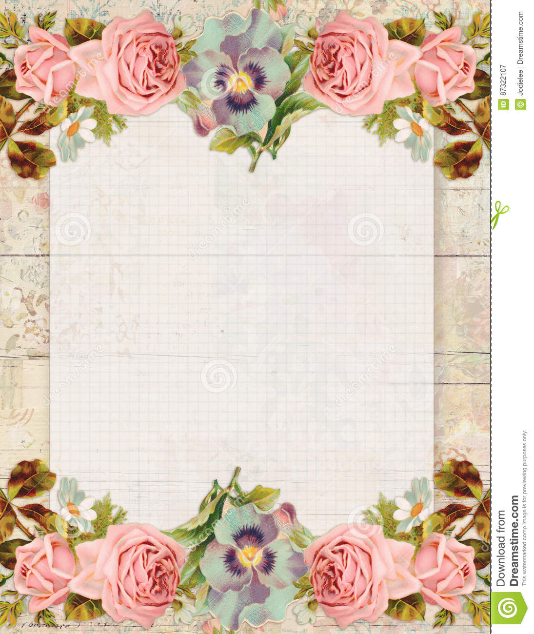 vintage botanical ledger background with flowers royalty. Black Bedroom Furniture Sets. Home Design Ideas