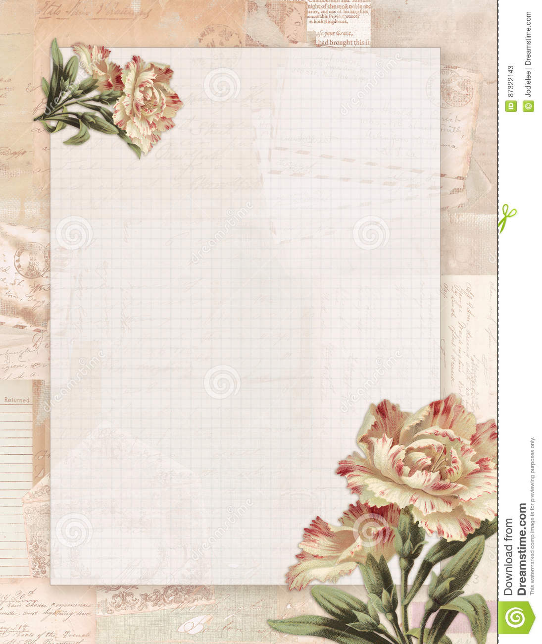 photo regarding Stationary Printable identified as Printable Typical Shabby Stylish Style and design Floral Rose Stationary