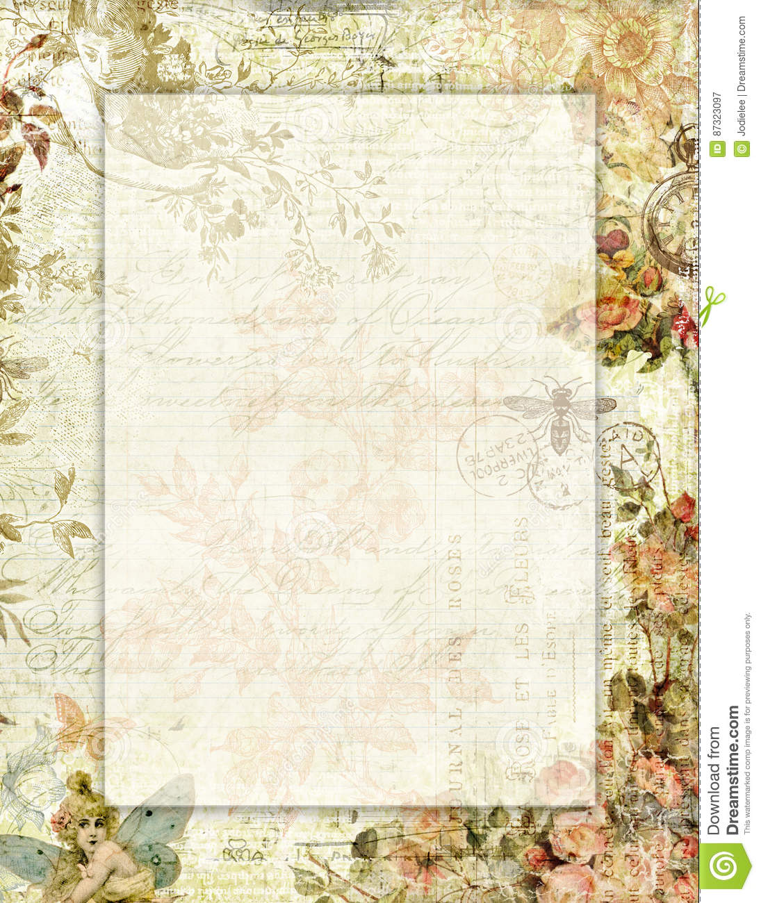 printable vintage shabby chic style floral stationary with. Black Bedroom Furniture Sets. Home Design Ideas