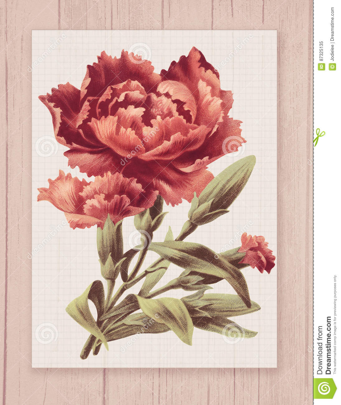 Printable Vintage Shabby Chic Style Flower On Wood Textured