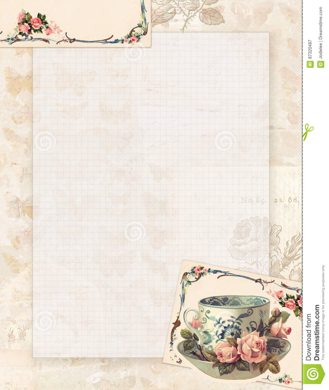 graphic relating to Stationary Printable known as Printable Classic Shabby Stylish Design and style Teacup And Roses