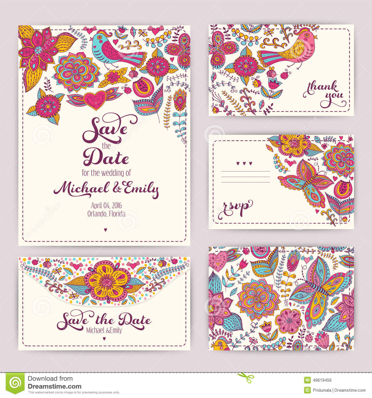 Printable Wedding Invitation Template: Invitation, Envelope, Th ...