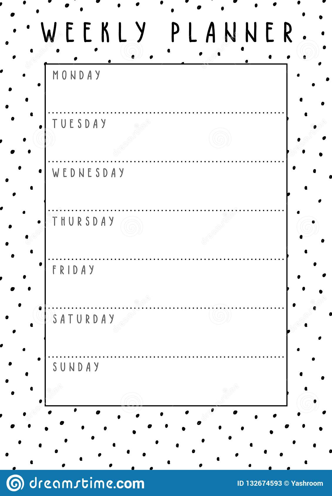 graphic regarding Cute Weekly Planner Printable titled Vector Weekly Planner Inside of Lovable Layout With Polka Dot Practice
