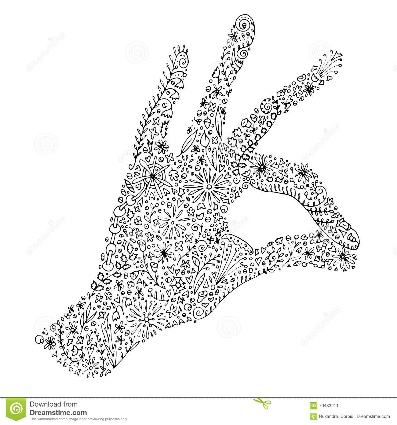 Printable Zentangle Hand Drawn Doodle With Left Palm And