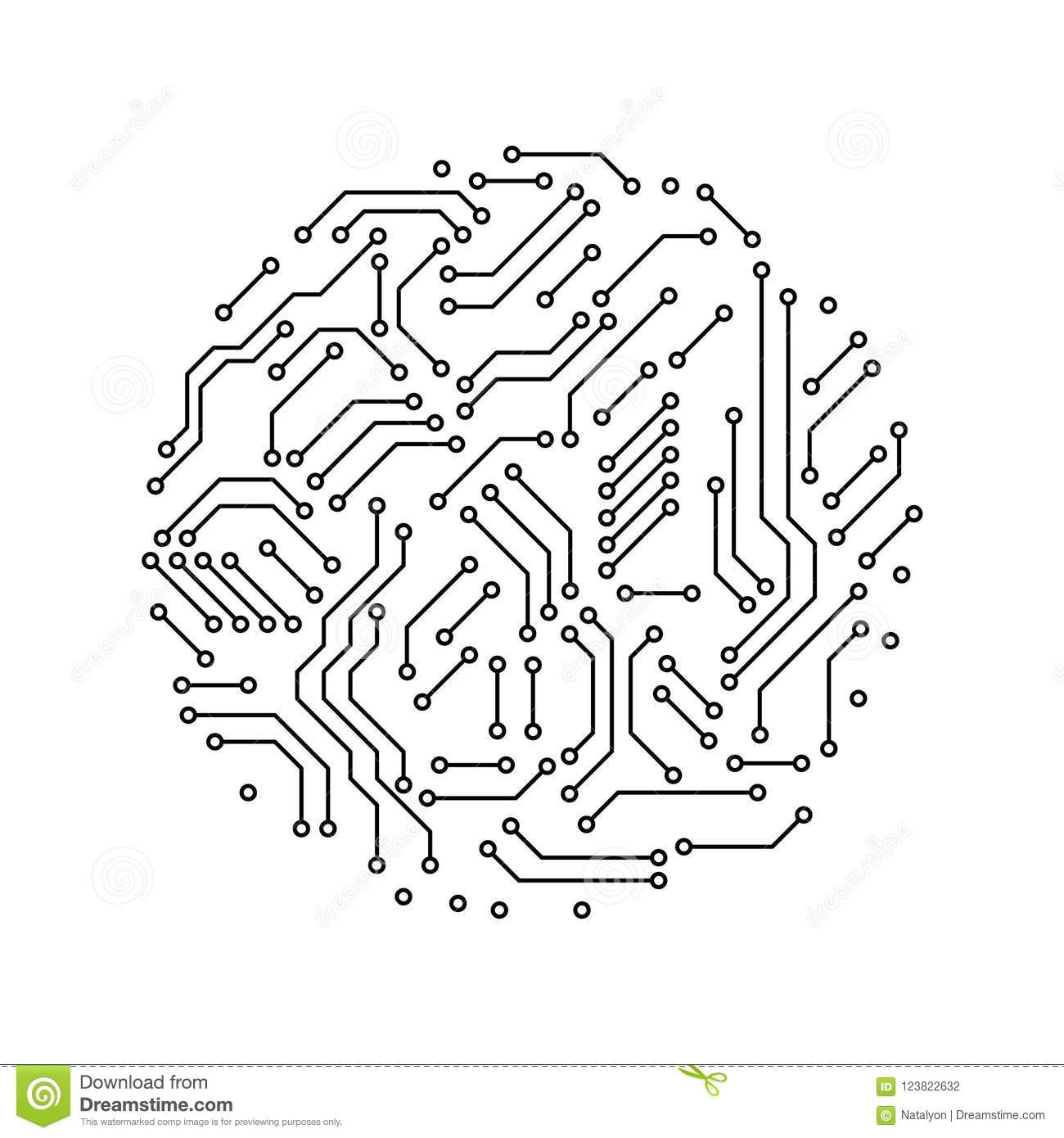 Wondrous Printed Circuit Board Black And White Circle Shape Symbol Of Wiring 101 Swasaxxcnl