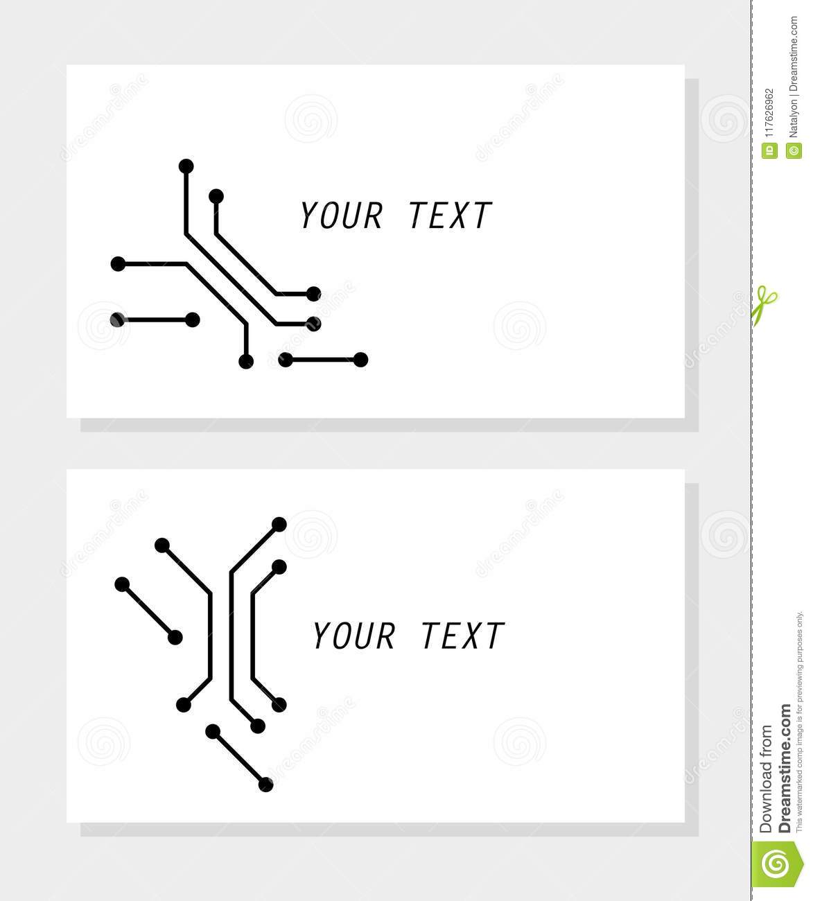 Printed Circuit Board Black And White Computer Technology Business Template Card Vector