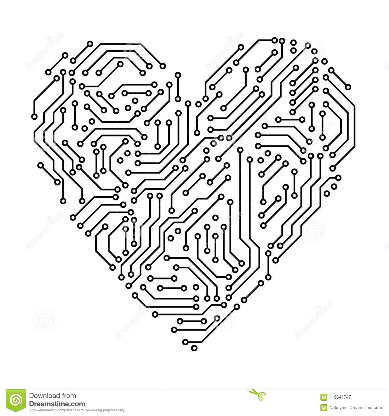 printed circuit board black and white heart shape computer technology  vector stock vector