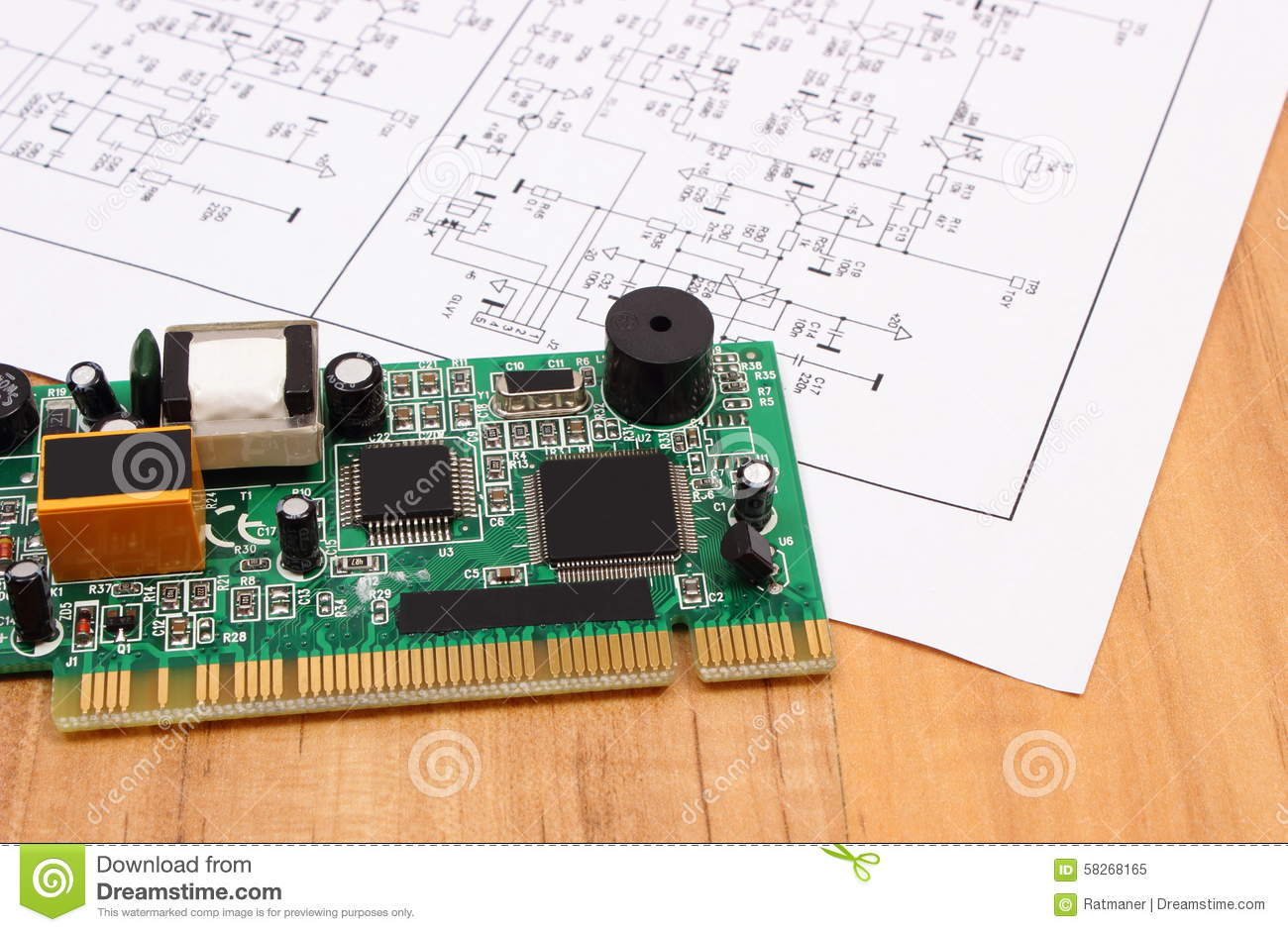printed circuit board and diagram of electronics, technology stock