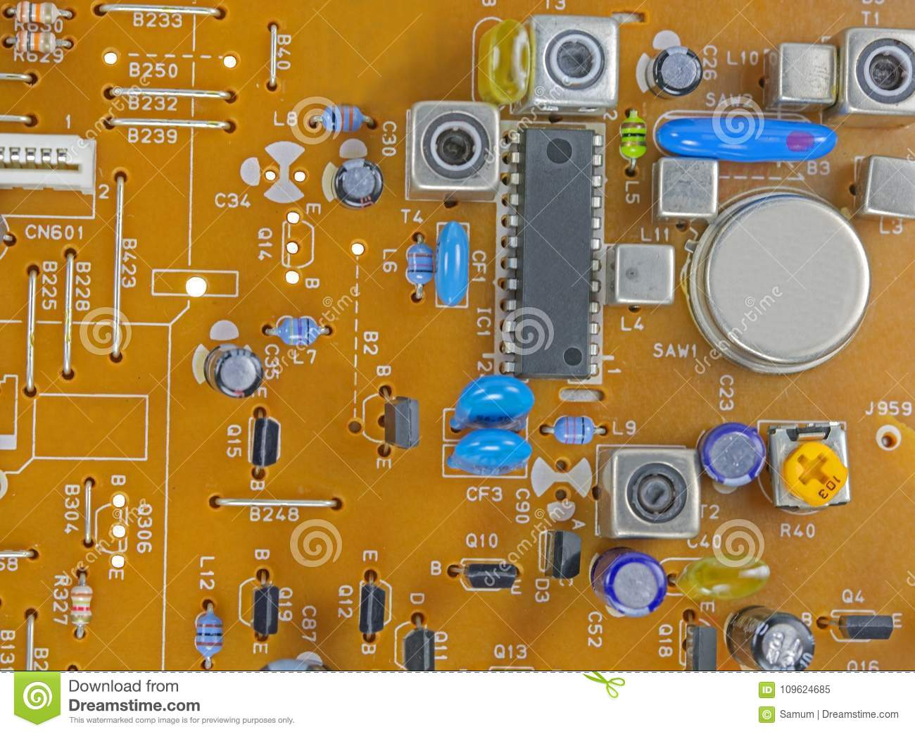 printed circuit board with electronic components stock image image rh dreamstime com Surface Mount Soldering Equipment Surface Mount IC Packages