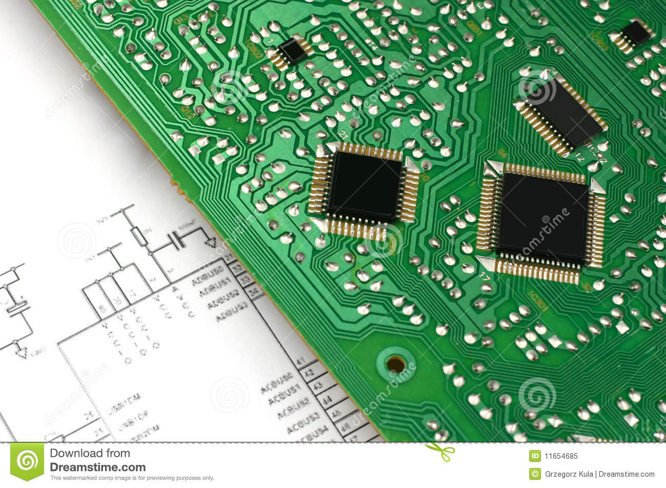 Printed Circuit Board With Electronic Chips And Electronic Meter