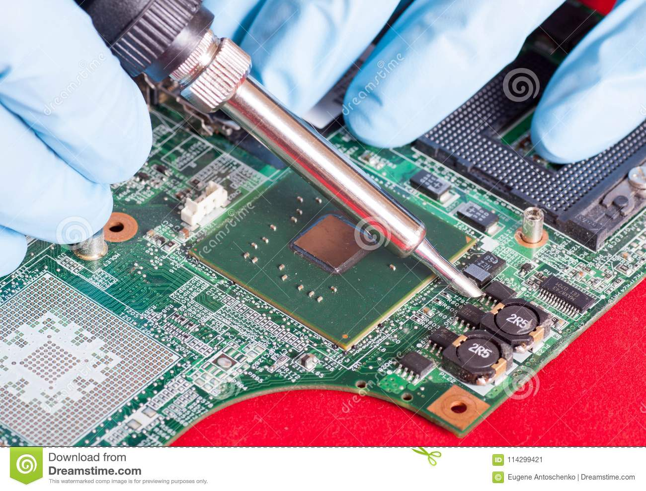 Electronic Circuit Board With Processor Repair Boards Stock Printed Fixing Ironing By Blue Hands In Gloves Download Image Of