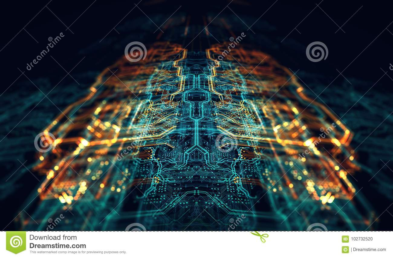 Printed Circuit Board Futuristic Server Stock Illustration Pcb The Printedcircuitboard 3d Royalty Free Photography Code Processing Orange Green Blue Technology Background With Bokeh