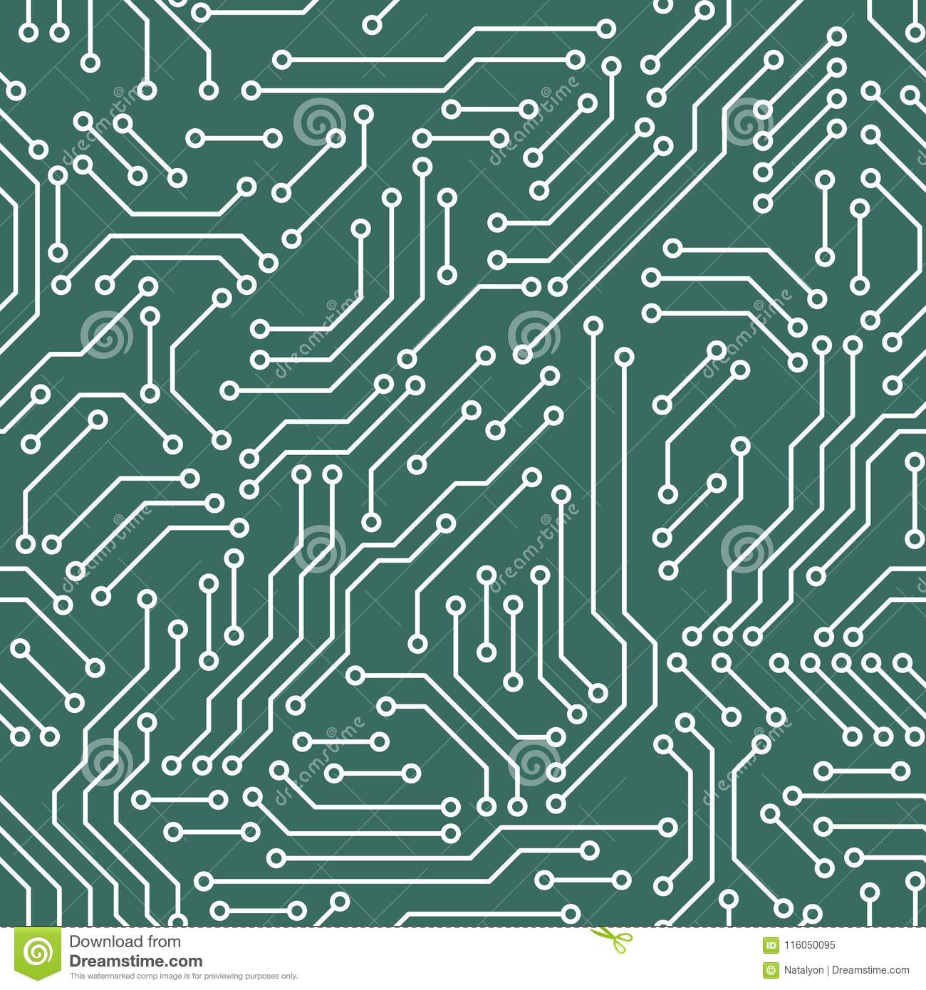 Printed Circuit Board Green And White Computer Technology Seamless Of Illustration A Pattern Vector