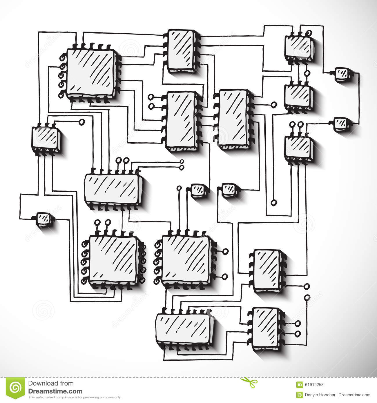 printed circuit board  hand drawn  stock vector
