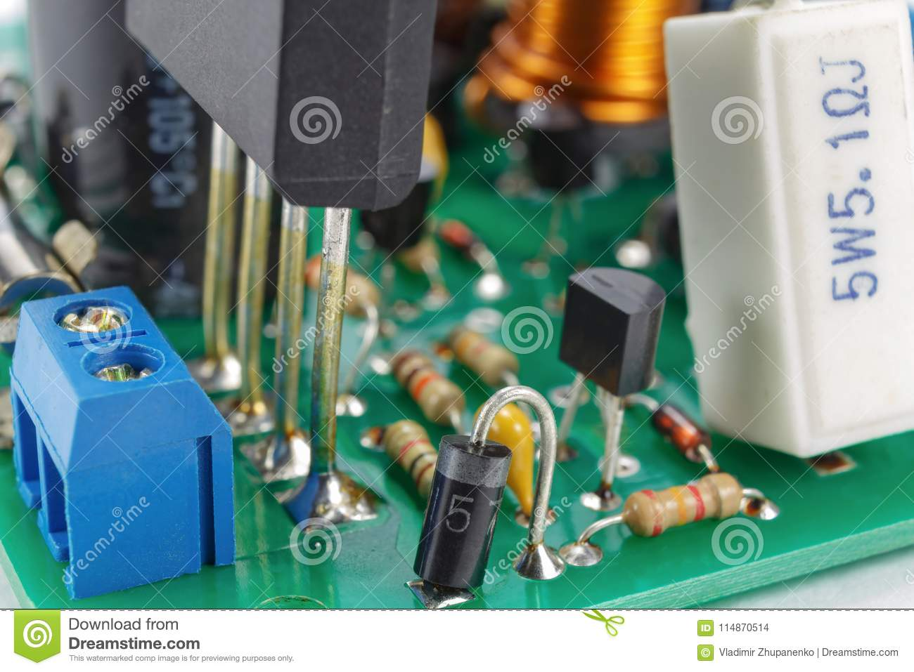 Printed Circuit Board With Installed Analogue Electronic Components Stockfoto Pcb Used In Industrial Closeup