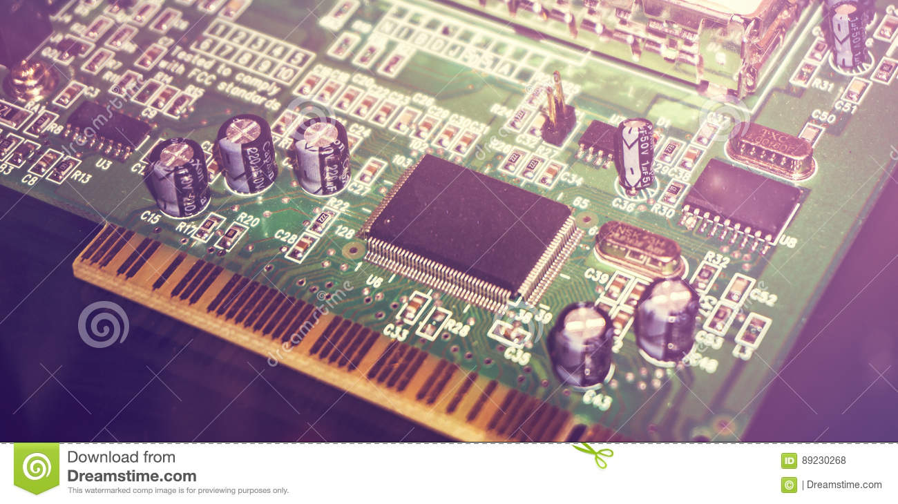 Printed Circuit Board With Many Electrical Components Close Up Stockfoto Pcb Used In Industrial Electronic Image