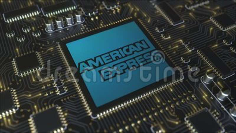 Computer printed circuit board or PCB with American Express Company logo   Conceptual editorial 3D animation