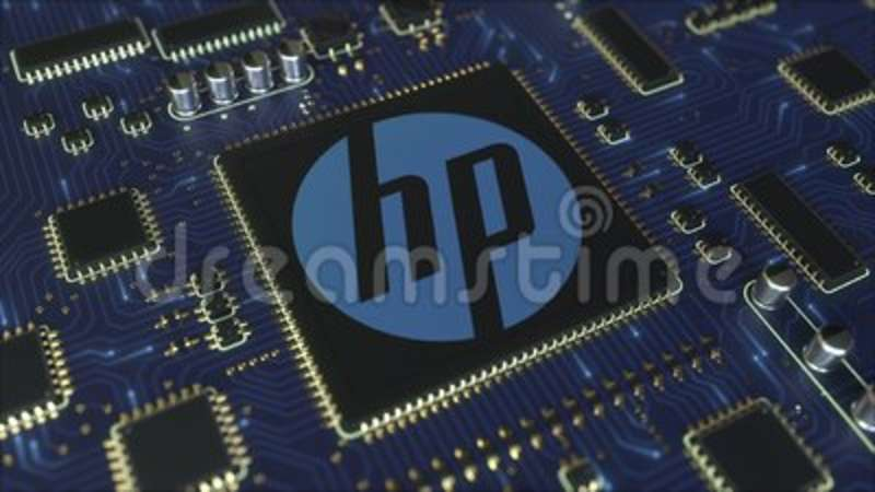 Computer printed circuit board or PCB with Hewlett-Packard Company HP logo   Conceptual editorial 3D animation