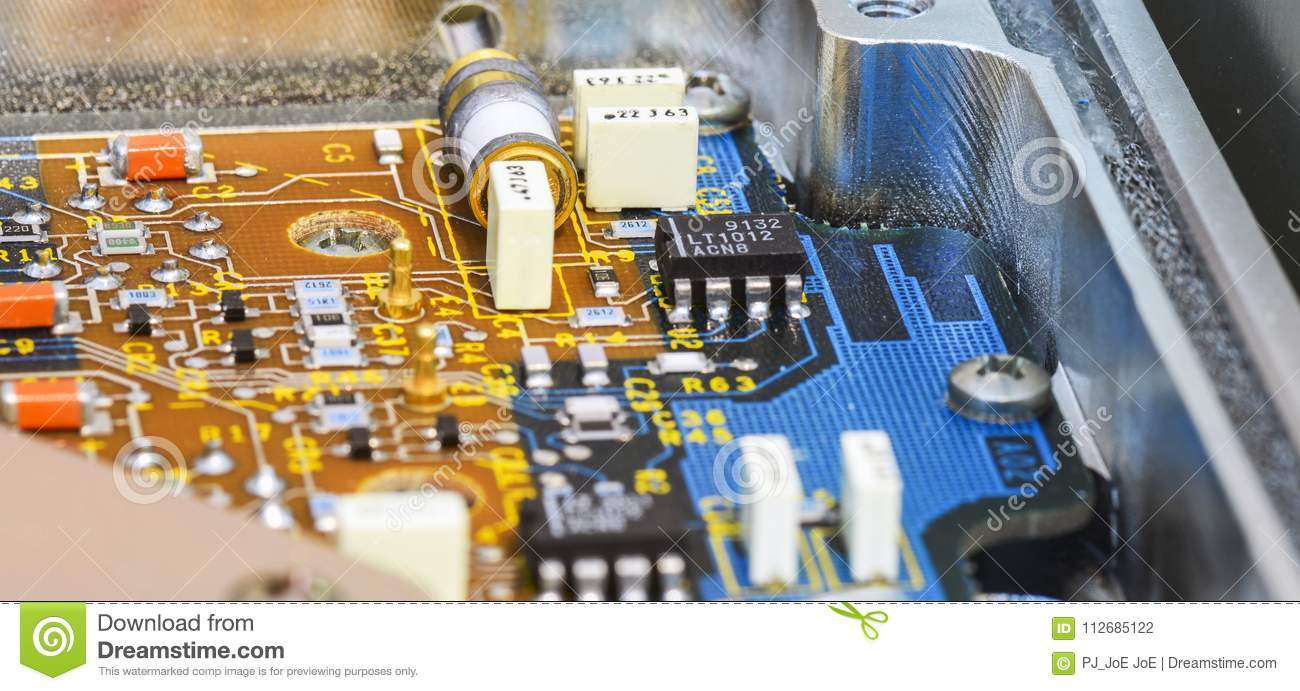 Printed Circuit Board Pcb With Ics Capacitors And Resistors Stock In A Capacitor Download Photo