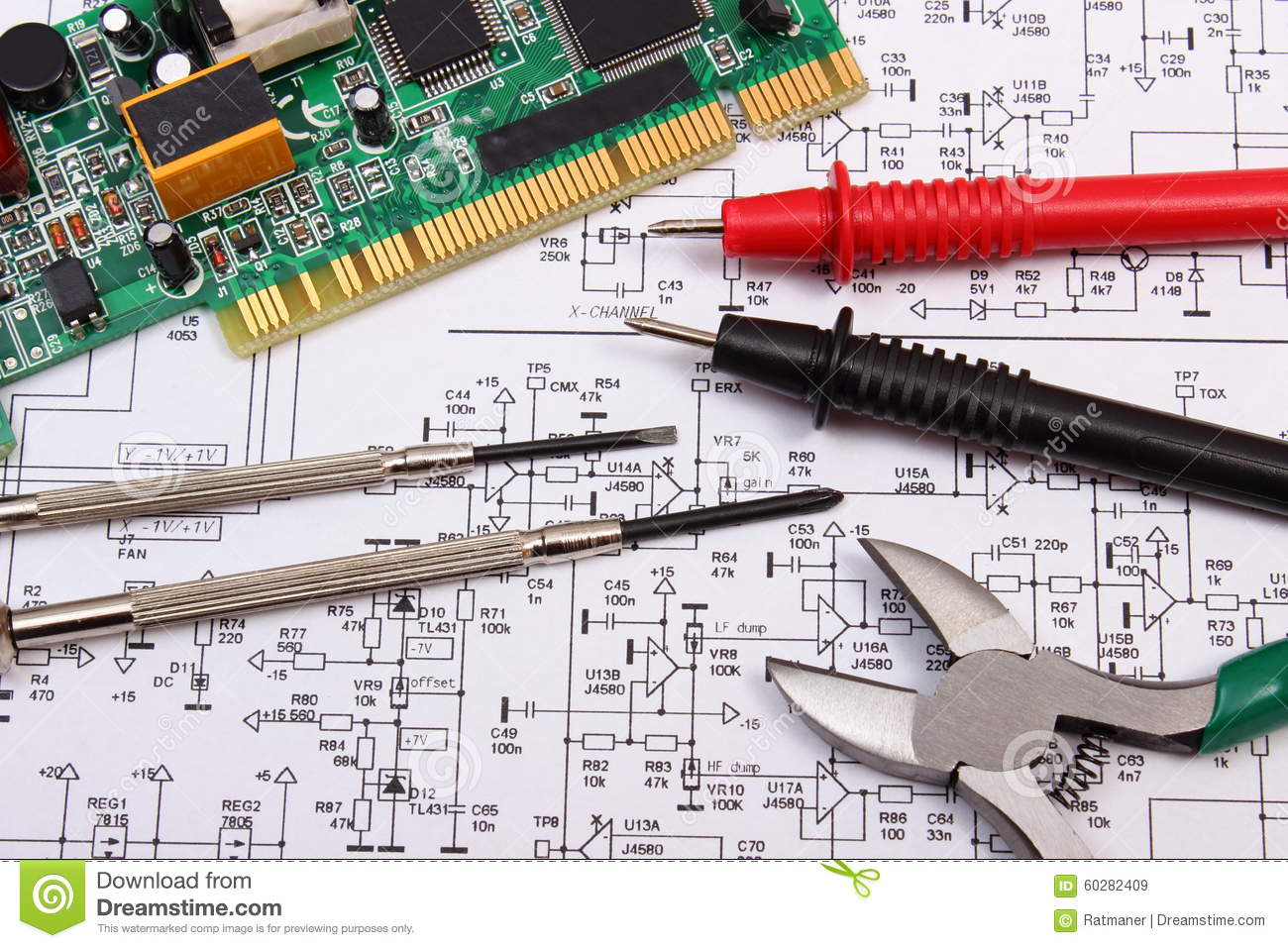 Printed Circuit Board Precision Tools And Cable Of Multimeter On Filter Circuits Electronic Diagramelectronics Diagram Electronics