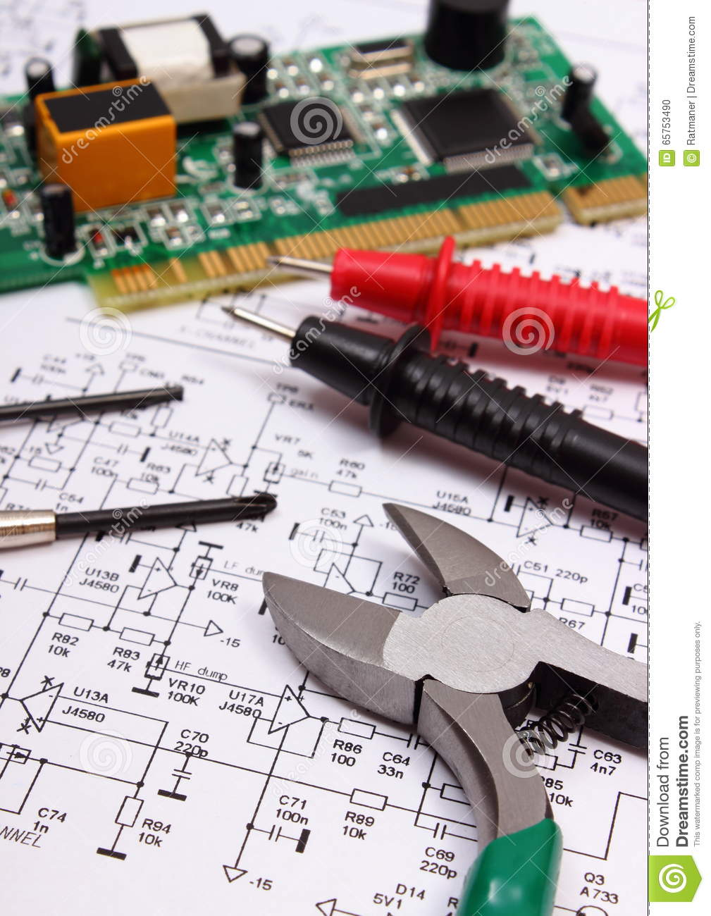 Printed Circuit Board Precision Tools And Cable Of Multimeter On Electronic Nose Diagram Electronics